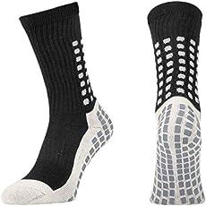Lux Rutschfeste Fußball Socken, Rutschfeste Sport Socken, Gummi-Pads, trusox/tocksox Style, Top Qualität, Basketball, Fußball, Wandern, Laufen, Hier in weiß, schwarz, rot, blau Blau blau UK 5.5-11
