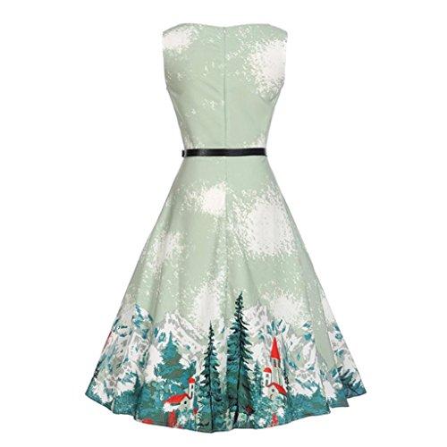 Minikleid,SANFASHION Damen Blumendruck Hochzeit Prinzessin Kleid + Gürtel Freizeitkleidung Outfits...