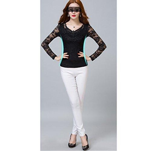... Sitengle Damen Langarmshirt Bluse Elegant Lace Blusen Spitze langarm  Slim Fit Stehkragen mit Futter OL Business ...