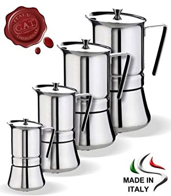 GAT PRATIKA Stove Top Espresso Coffee Maker STAINLESS STEEL 18/10 Made In Italy! from G.A.T