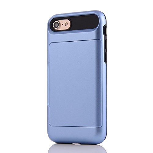 """HYAIT® For IPHONE 7 4.7"""" Case[Credit Card Slots][Shockproof] Dual Layer Hybrid Armor Rugged Plastic Hard Shell Flexible TPU Bumper Protective Cover-BHE07 BHE04"""
