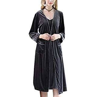 Anyu Ladies 2 Pieces Sets Dressing Gown Lightweight Bath Robe for Spa Hotel Sleepwear Gray XL