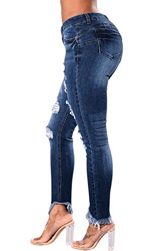 Pantaloni da donna a vita alta in denim con pantaloni alla moda a fessura di BaronHong con pantaloni T-shirt con nappe irregolari Blu scuro