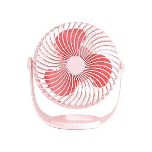 XIALIUX Mini Sieben-Zoll-gestreiften Kleinen Lüfter Handheld-tischventilator USB Tragbaren Kleinen Lüfter Tischventilator-Big Wind, 360 ° -drehung, Geräuschloser Betrieb,Pink - Kühlschrank Wachsen