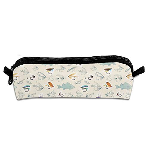 Fishing Flies Pencil Pouch Bag Stationery Pen Case Makeup Box with Zipper Closure 21 X 5.5 X 5 cm -