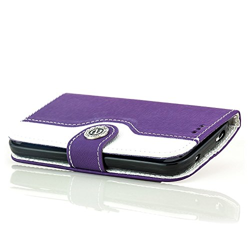 Saxonia Custodia Apple iPhone 6 Plus / 6S Plus Flip Case Cover Copertura con Portafoglio Wallet Alta Qualità Marrone-Bianco Viola-Bianco