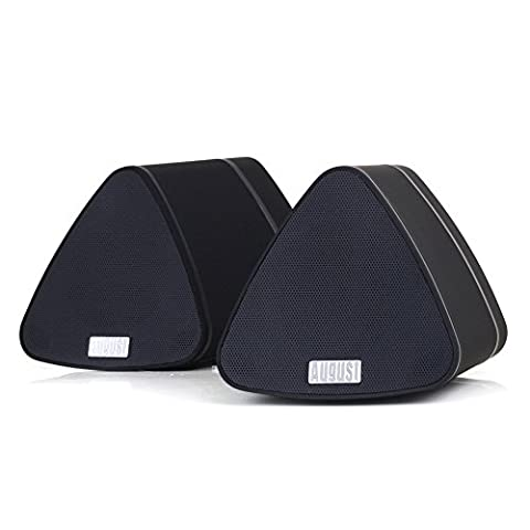 Portable Wireless Bluetooth Stereo Speakers - August MS515 - Two Unit Stereo Set for Laptops / Smartphone / Tablet / TV - Rechargeable Speaker