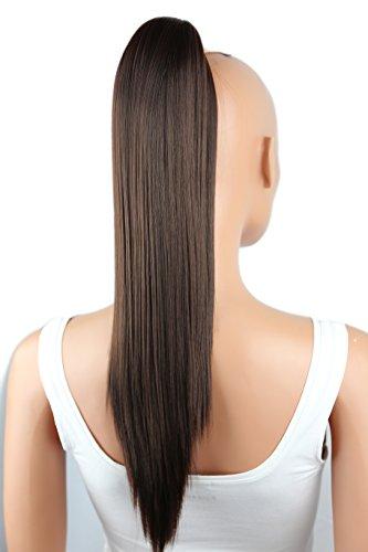 PRETTYSHOP Postiche queue de cheval d'extension de cheveux queue de cheval chaleur lisse résistant 50cm brun # 4A H69