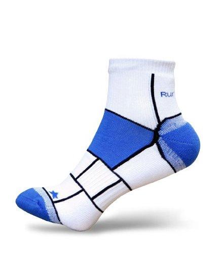 3er Pack RunBreeze Anti-Blasen Laufsocken viertellang mit der einzigartigen Doppelschicht Technologie für Männer und Frauen, blau (L - 43-46 EUR) (Coolmax-läufer)