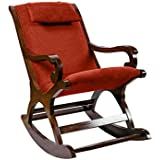 Surprise Interiors Cushioned Back And Seat Teak Wood Rocking Chair