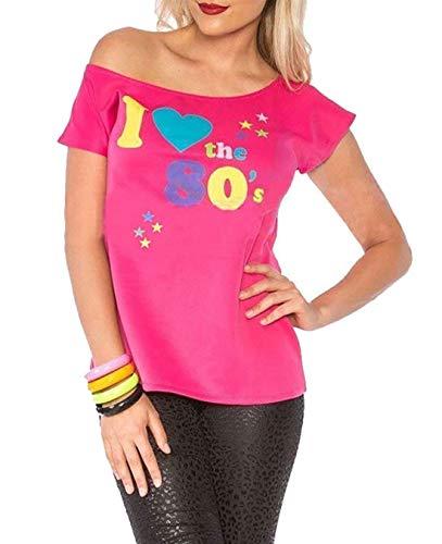Adult Tanz Medium Kostüm - Deluxe I Love The 80's Damen T-Shirt Pop Star Pink Top-Kostüm Sexy Retro #klein