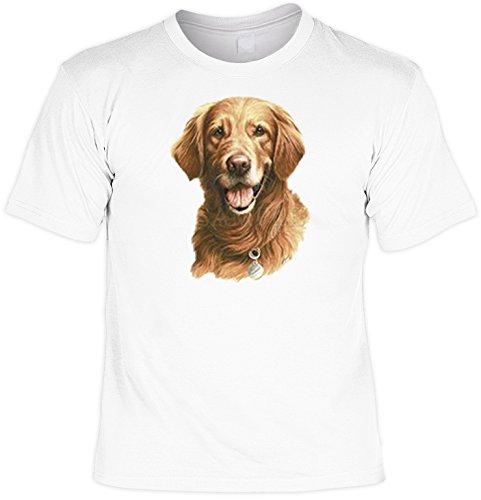 T-Shirt cooles Fun Shirt weiss für Hundefreunde Motiv Golden Retriever, ideales Geschenk, für Herren Frauen Weiß