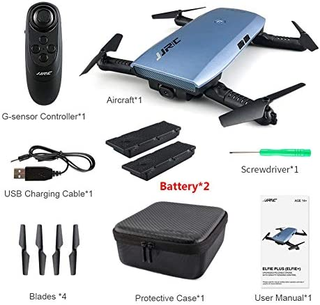 Drone caméra JJRC WiFi, drone pliable Selfie H47 ELFIE Plus avec caméra HD 720P, capteur G Altitude pour maintien de la tête | Matériaux Sélectionnés Avec Soin