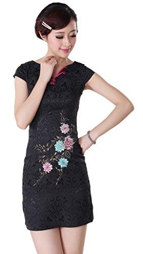 Smile YKK Femme Robe Fasion Rétro Qipao Cheongsam Coton Noir
