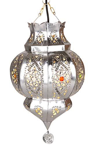 Orientalische Lampe Pendelleuchte Argana Silber E27 Lampenfassung | Marokkanische Design Hängeleuchte Leuchte aus Marokko | Orient Lampen für Wohnzimmer, Küche oder Hängend über den Esstisch