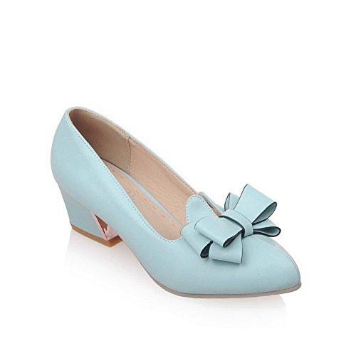 AllhqFashion Femme à Talon Correct Pointu Tire Pu Cuir Couleur Unie Chaussures Légeres Bleu