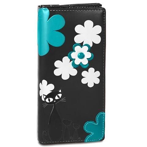 CASPAR Portefeuille pour femme / Porte-monnaie / long avec motif chat très tendance et de nombreux rangements très pratiques - plusieurs coloris - GB290, Farbe:schwarz