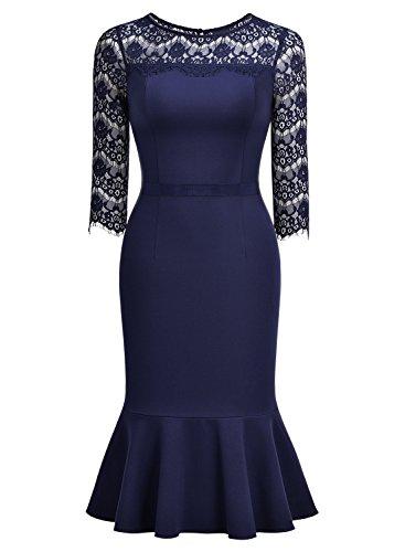 MIUSOL Damen Elegant Kleid Spitzen 3/4 Arm Vintage Cocktailkleid Fishtail Abendkleid Navy Blau Gr.S -