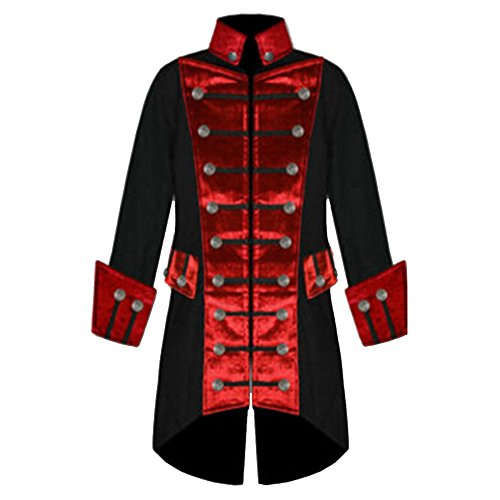Rera Herren Frack Steampunk Jacke Männer Gothic Smoking Coat mit Stehkragen Kontrastfarbe Vintage Uniform Kostüm Viktorianisch Mittellang ()