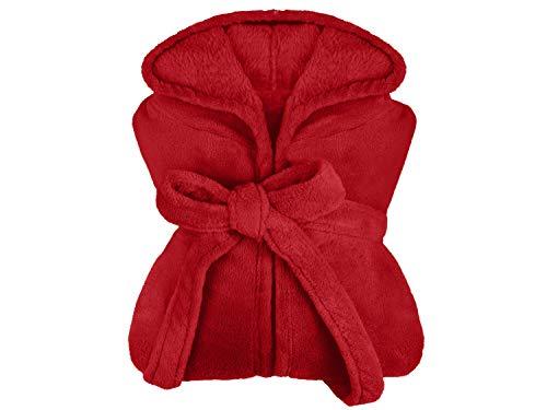 extra weicher Kapuzen-Bademantel aus Kuschelfleece - erhältlich in 7 modernen Farben und 5 Größen - unisex & wadenlang, XL, bordeaux