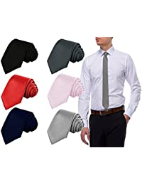 COCO CHANEL Men's Slim Satin Tie, Free Size(Black, Red, Grey, Navy Blue, Light Pink, Silver, PlainSet_5) - Pack of 6