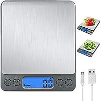 Báscula Digital para Cocina con Carga USB,Balanza de Alimentos Multifuncional Alta Precisión(3 kg-0.1g/0.01oz) Peso de Cocina Electrónica con LCD Retroiluminación, Gris