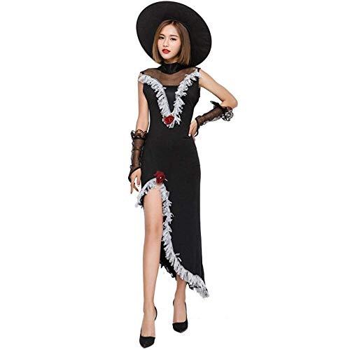 Fashion-Cos1 Fantasie Erwachsene Halloween Lange Schwarze Hexe Kostüm Frauen Karneval Maskerade Hexe Cosplay Kostüm Kostüm Promi Tänzer (Size : L)