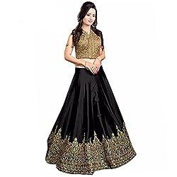 Nirvan Fashion Womens Black Satin Lehenga-Choli - (minaxi black | Free Size)
