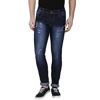 Urbano Fashion Men's Slim Fit Jeans (dis-heavy-blu-fba-32) Blue