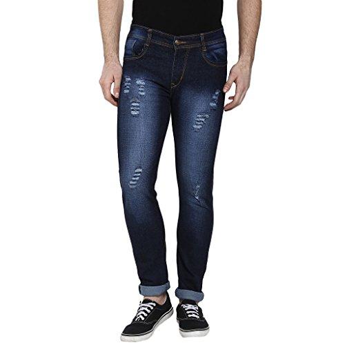 Urbano Fashion Heavy Distressed Blue Slim Fit Stretch Jeans