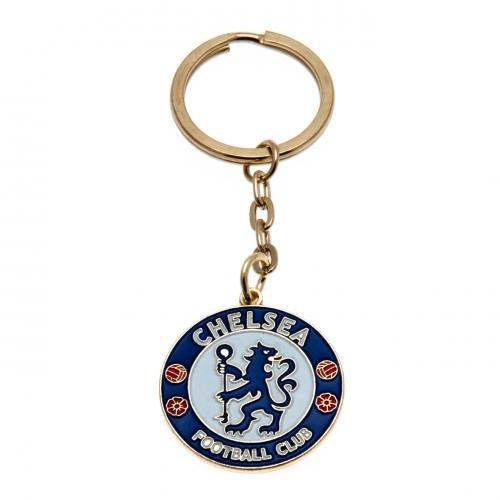 Chelsea FC Wappen mit Schlüssel, Schlüsselanhänger aus Metall, Durchmesser: ca. 40 mm x 30 mm Grußkarte-header Offizielles Fußball-Merchandising-Produkt Chelsea Fc Cufflinks