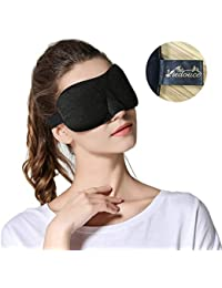 Masque de Sommeil, Masque de Nuit Soie, 100% Soie Naturelle Occultant Ultra-Douce Masque de Voyage Masque de Yeux Sommeil,Masque pour Dormir Soie, Masque Nuit Sommeil Soie (3D-Noir)
