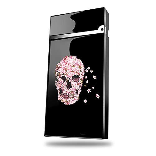 ZXYAN Encendedor con Tiempos de Prensa Indicadores de batería,Flower Skull Diseños Impresos Sin Llama USB Alimentado Durable No Hay Gasolina Encendedores de Arcos duales