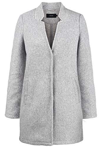 VERO MODA Mania Damen Winter Jacke Wollmantel Winterjacke Mantel Mit Reverskragen, Größe:XXL, Farbe:Light Grey Melange