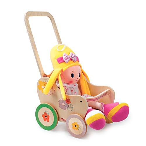 Dida - passeggino in legno per bambole - decoro: fiore