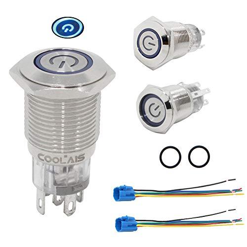 Coolais 16 mm Druckknopfschalter Momentary/Latching Druckknopf blaues LED-Licht Wasserdicht IP67 mit Steckdose Stecker Draht 5 A 12 V 2 Sets/Pack PBSLM-02/PBSLL-02, silber -