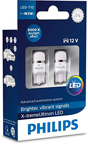 Philips automotive lighting 127996000KX2 X-tremeUltinon LED Luce per abitacolo W5W T10 6000K 12V, 2 Pezzi, 6.000K, Set di 2