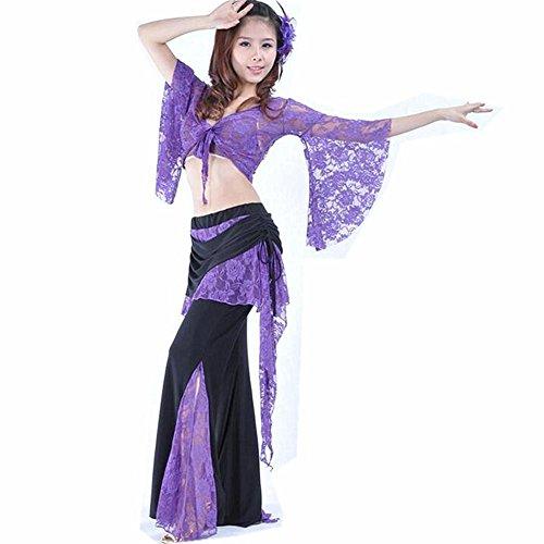 Wgwioo Frauen Bauchtanz Kostüm Outfit Professionelle Performance Lace Baumwollgarn Kurzarm Praxis Hosen Rock Modern Match Kleidung Set, deep Purple, - Lace Unitard Tanz Kostüm