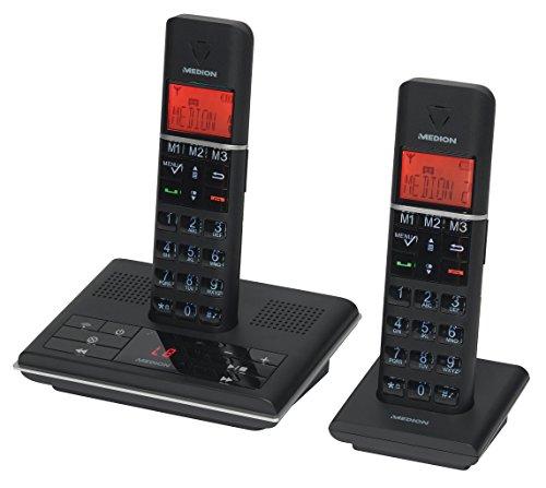 MEDION LIFE P63009 MD 83672 DECT Telefon mit 2 Mobilteilen (Full-Eco, Integrierter Anrufbeantworter, XL-Tasten, LCD-Display, NiMH-Akku) schwarz (Akku-2 Mobilteil Telefone)