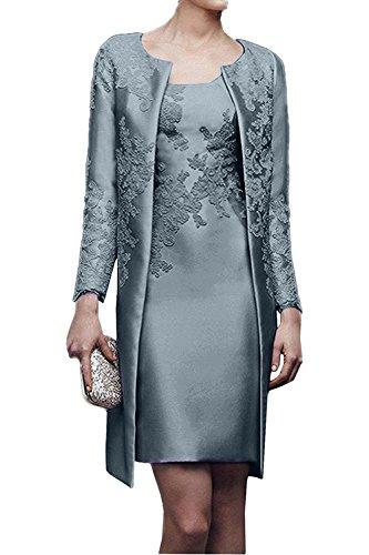 Charmant Damen 2017 Neu Gelb Satin Abendkleider Partykleider Ballkleider mit lang Bolero knie-lang Dunkel Silber