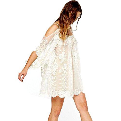 WINWINTOM Vintage Hippie Boho, Vintage Hippie Boho Embroidered Floral Lace Crochet Mini Dress (XL)