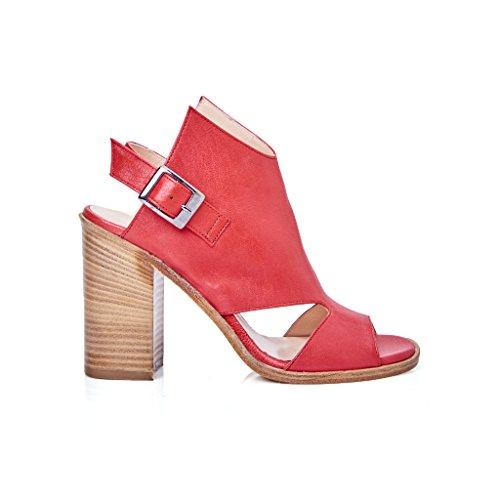 sandalo tacco accollato pelle rosso donna modello ixos made in italy