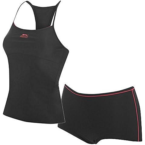 Slazenger Tankini Set Donna Costume da bagno bikini swimsuit, Pink - Black / Pink, XXXL (46)