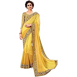 Shiroya Brothers Women's Yellow Georgette Partywear Saree With embroidered Blouse Piece