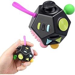 Fidget Juguete Antiestrés Stress Cube, JIM'S STORE 12 Lados Cubo de Descompresión Juguete de Atención a la Ansiedad Juguete de Dedo Sensorial para ADHD, ADD Adultos y Niños (Negro)