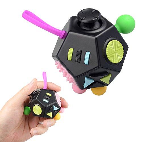 Stress Relief Toys, Jim'S Store 12 Côtés Fidget Anxiété Stress Reliever Cube de Décompression Jouet d'attention d'inquiétude Jouet à Doigt sensoriel pour ADHD, ADD Adultes et Enfants (Noir)