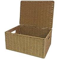 Arpan Natural cuerda de papel cesta de caja de almacenamiento con tapa, natural, Medium