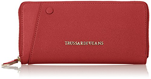 Trussardi Jeans Montblanc Zip Around Portamonete, 20 cm, Bordeaux