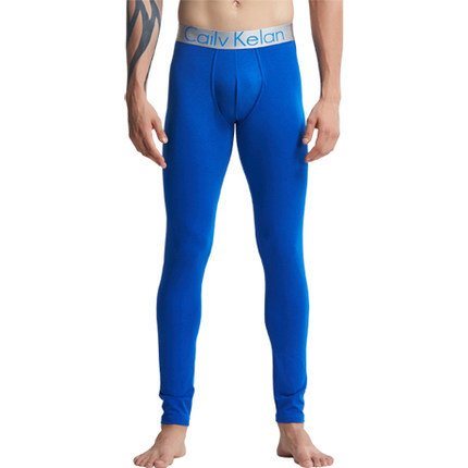VB Johks lungo Johns Underwear Rendere a tenuta sottile di colore solido cintura centrale Blue