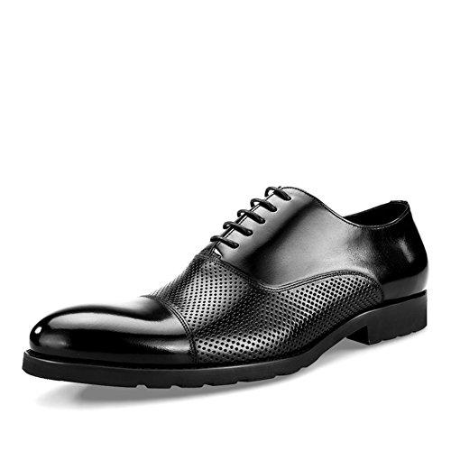 Hommes Occasionnels En Cuir Chaussures Robe Automne Business Wedding Fashion Slip Sur Brown-noir Chaussures Minces Noir